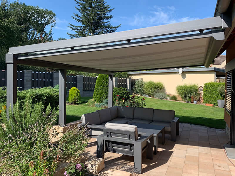Terrassendach grau Garten